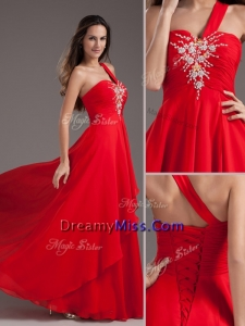Pretty Empire One Shoulder Red Prom Dress with Beading