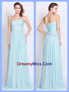 Romantic Brush Train Light Blue Prom Dresses with Beading and Ruching
