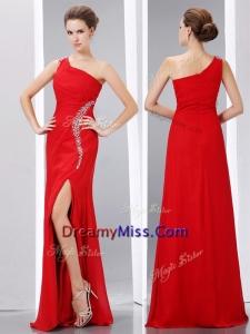 Romantic Column One Shoulder Prom Dress with High Slit