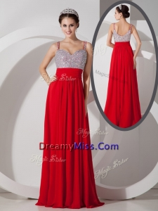 Romantic Empire Straps Beading Prom Dresses for Evening