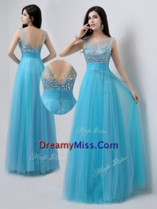 Romantic Scoop Empire Beading Prom Dresses in Baby Blue