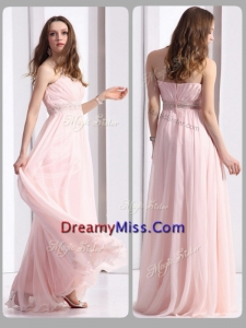 Romantic Strapless Beading Long Prom Dresses in Baby Pink