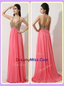 The Most Popular Timeless Halter Top Brush Train Watermelon Red Prom Dresses