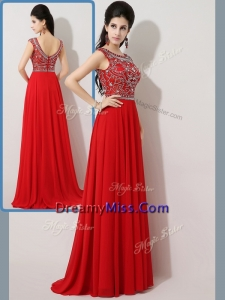 Timeless Empire Bateau Brush Train Prom Dresses with Beading