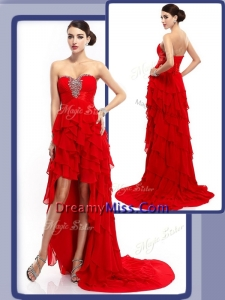 Unique High Low Beading and Ruffled Layers Prom Dresses in Red