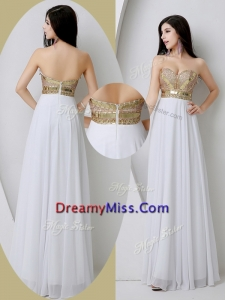 Unique Sweetheart White Prom Dresses with Beading and Sequins