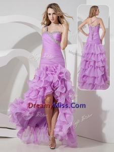 Unique Column High Low Prom Dress with Ruffled Layers