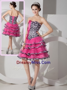 Unique Sweetheart Leopard and Ruffled Layers Prom Dresses