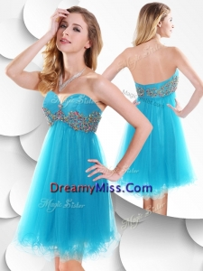 Unique Short Baby Blue Prom Dress with Beading