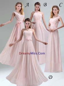 Most Beautiful Chiffon Light Pink Empire Dama Dress with Ruching