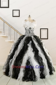 2015 Black and White Sweetheart Dress for Quinceanera with Ruffles