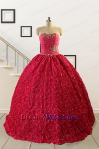 2015 Customize Special Fabric Beading Sweet 16 Dress in Coral Red