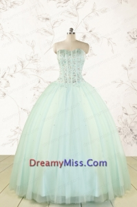 Cheap 2015 Light Blue Sweet 15 Dresses with Beading