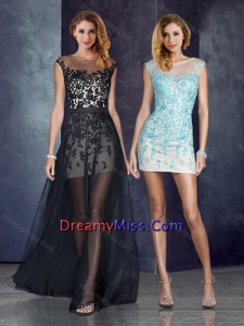 b3e0796262b 2016 Short Inside Long Outside Bateau Applique Light Blue Dama Dresses in  Black
