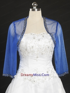 2015 Discount Royal Blue Long Sleeves Wraps with Beading