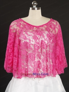 Hot Pink Beading Lace Hot Sale Wraps for 2015