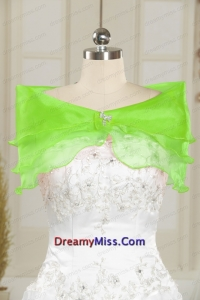 Green 2014 Organza Shawls with Beading
