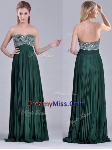 2016 Popular Brush Train Beaded Bust and Pleated Dama Dress in Hunter Green
