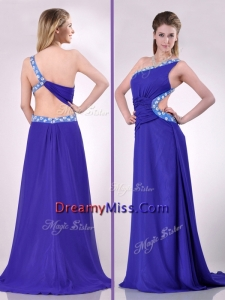 Beautiful Brush Train One Shoulder Prom Dress with Criss Cross