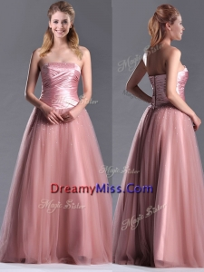Elegant A Line Tulle Beaded Long Prom Dress in Peach