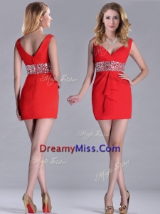 Hot Sale Beaded Decorated Waist V Neck Prom Dress in Red