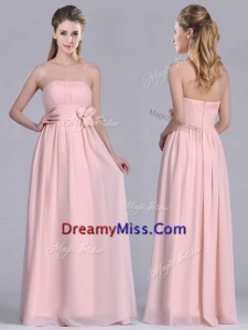 Modern Chiffon Handcrafted Flowers Long Prom Dress in Baby Pink