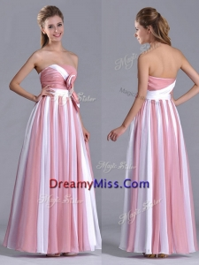 Hot Sale Bowknot Strapless White and Pink Prom Dress with Side Zipper