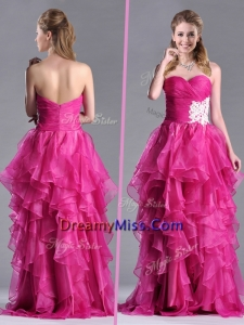 Modern Brush Train Fuchsia Prom Dress with Appliques and Ruffles