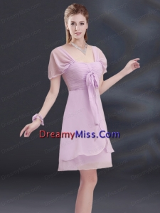 A Line Square Ruhing Prom Dresses with Cap Sleeves