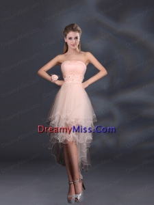 Appliques Strapless Ruffles Organza 2015 Sturning Prom Dresses