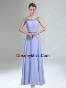 Lavender Scoop Belt and Lace Empire 2015 Prom Dresses