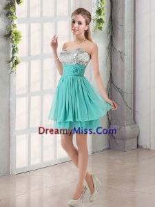 Sweetheart A Line Prom Dresses with Sequins and Handle Made Flowers