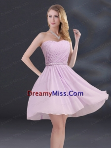 A Line Sweetheart Prom Dresses with Ruhing and Belt