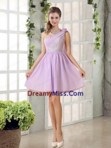 The Most Popular Lilace One Shoulder A line Prom Dresses with Rushing