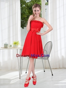 Wonderful Ruching Strapless Bowknot Prom Dresses in Red
