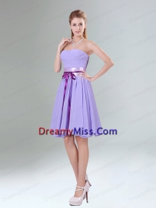Decent Lavender Ruched Mini Length Prom Dress with Bowknot Sash