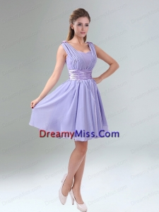 Perfect Straps Lavender Ruched Mini Length Prom Dress with Waistband