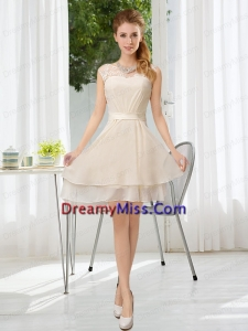 Bateau Belt Mini Length Prom Dress with Lace Up