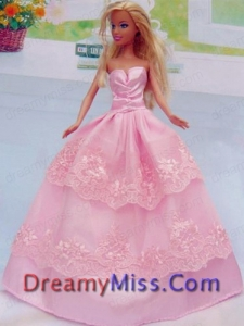 Embroidery Floor Length Rose Pink For Princess Barbie Doll Dress
