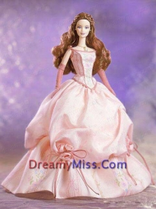 Hand Made Flowers and Embroidery Ball Gown Champagne Barbie Doll Dress