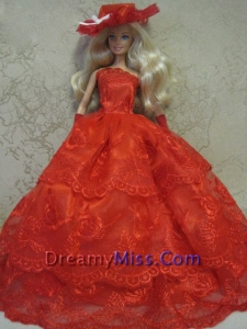Red Handmade Pretty Dress With Embroidery Made to Fit the Barbie Doll