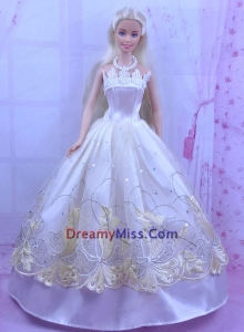 Elegant White Princess Dress For Barbie Doll With Appliques