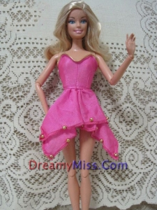 Fashion Pink Handmade Dress With Beading Made To Fit the Barbie Doll