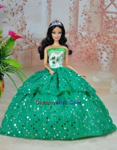 Elegant Ball Gown Green Strapless Hand Made Flowers Party Clothes Fashion Dress for Noble Barbie