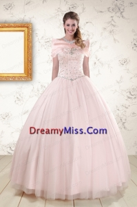 2015 Beading Ball Gown Quinceanera Dresses in Baby Pink