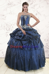 2015 Embroidery and Pick Ups Cheap Quinceanera Dress in Navy Blue
