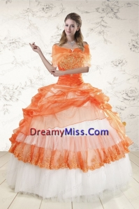 2015 Strapless Orange Quinceanera Dresses with Beading and Appliques