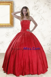 Cheap Red Strapless 2015 Quinceanera Dresses with Beading