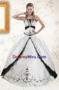Latest Embroidery Quinceanera Dresses in White and Black