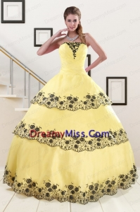 Light Yellow Appliques and Ruffled Layers Quinceanera Dress for 2015